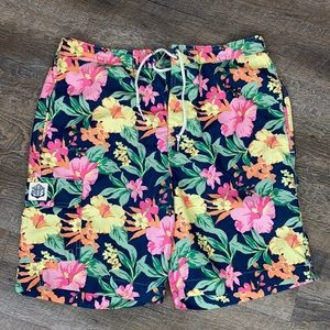 Chaps Mens Floral Swim Shorts Large